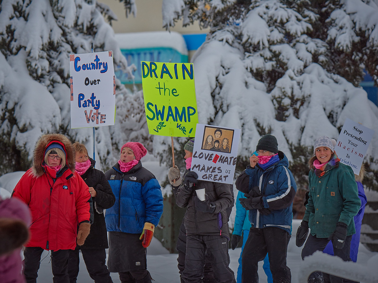 A small portion of the roughly 400-strong group of protesters attending the Women's March held in Fairbanks Alaska on January 20, 2018. Temperatures were just below zero Fahrenheit, and there was a fresh blanket of snow, all of which added up to a pleasant winter's day by the standards of this town.