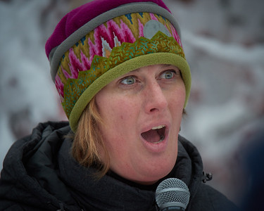 Activist Liz Lyke addresses the crowd at the Women's March held in Fairbanks Alaska on Jan 20, 2018. She spoke of gender politics in Alaska and nationwide and, in particular, of the difficulties facing the transgender community.
