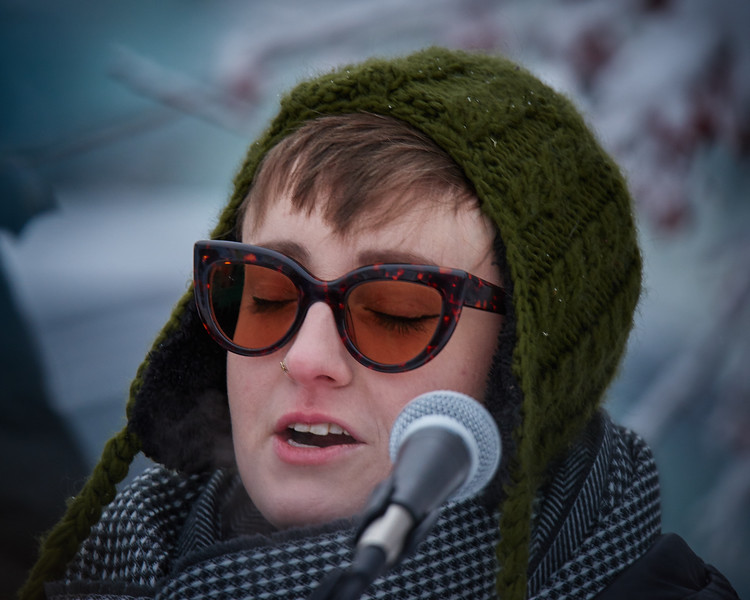 The Reverend Leslie Ahuvah Fails from the Unitarian Universalist Fellowship of Fairbanks leads a prayer at the Women's March held in Fairbanks Alaska on Jan 20, 2018.