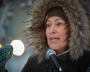 Arctic Village activist Princess Daazhraii Johnson speaks at the Women's March in Fairbanks Alaska on Jan 20, 2018. She spoke to a crowd of roughly 400 people about the need to preserve the Arctic environment and indigenous culture.