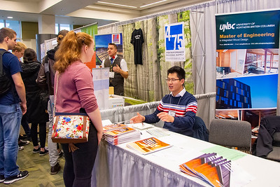 BCIT student visits UNBC booth at the trade show