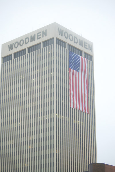 "<font size=""3"">Flags were displayed on the East and West faces of the Woodman Tower.</font>"