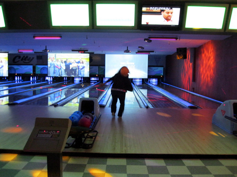 They turned off all the lights. So we bowled in the dark. It was really fun. They had good music going and fun disco lights on.