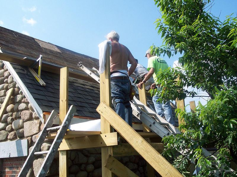 Roof work on the old Rock House.