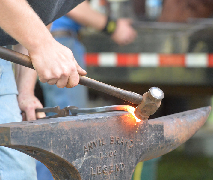 Ryan Patterson | The Sheridan Press<br /> Travis Buck of Glen Williams, Ontario, competes in the World Championship Blacksmiths competition at the Big Horn Equestrian Center Saturday, Sept. 1, 2018.