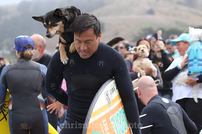 8/5/17: Abbie the Surf Dog and her human, Michael Uy, at the 2017 World Dog Surfing Championships at Pacifica State Beach in Pacifica, Ca by Chris M. Leung