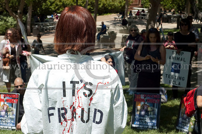 ARP_042511_1061w  Animal rights protestors in costumes and carrying anti vivisection signs protest animal testing in laboratories during World Week for Animals in Laboratories at UCLA in Los Angeles, CA 04/25/2011. A protestor wearing a costume with the words It's Fraud on the back of the costume faces protestors holding protest signs.  All Rights Reserved. No usage of any kind without written permission and compensation to www.lauriepaladinophotography.com