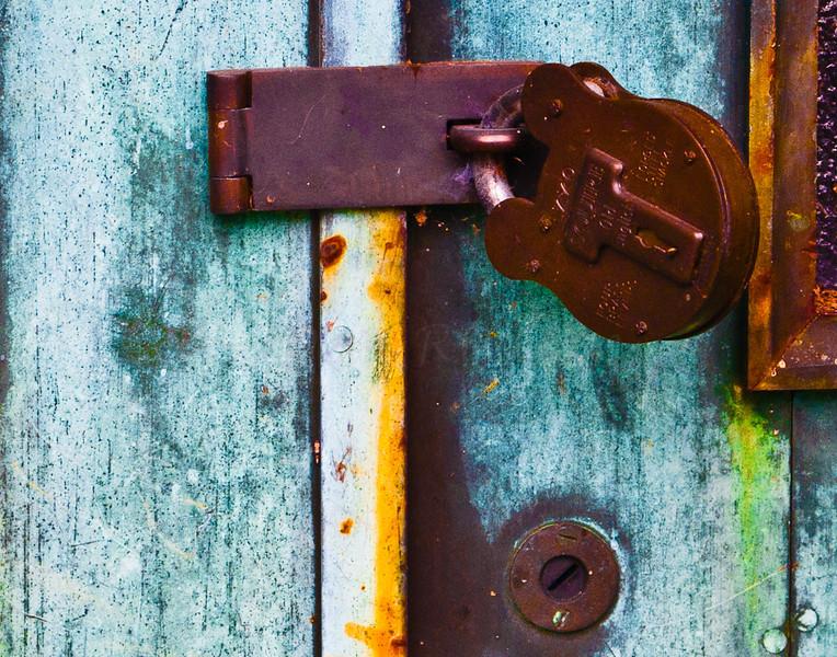 Old padlock, frontside.
