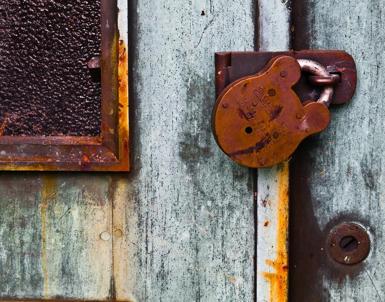 Old padlock, backside.