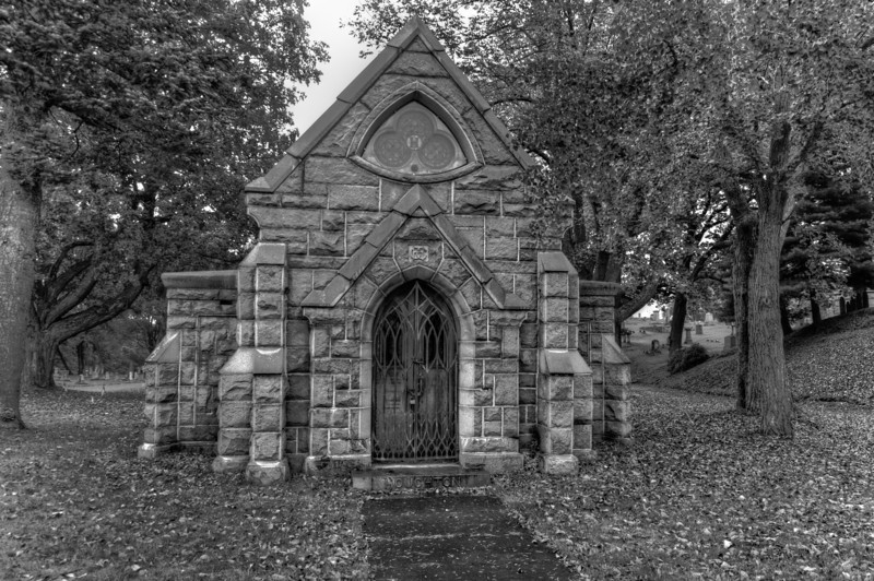 B&W of front of Mausoleum