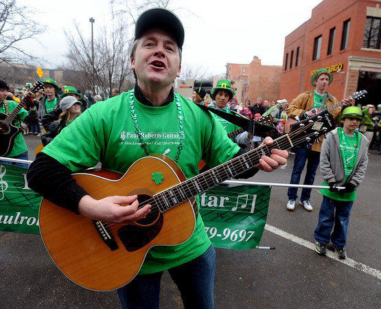 """Paul Roberts and his guitar students, never miss a parade appearance.<br /> The annual World's Shortest St Patrick's Day Parade was held in front of Conor O'Neills on Sunday.<br /> For more photos and a video, go to  <a href=""""http://www.dailycamera.com"""">http://www.dailycamera.com</a>.<br /> Cliff Grassmick / March 13, 2010"""