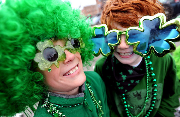 "Beau Evans, left, and Luke Regnier, are ""the usual suspects"" at the parade on Sunday.<br /> The annual World's Shortest St Patrick's Day Parade was held in front of Conor O'Neills on Sunday.<br /> For more photos and a video, go to  <a href=""http://www.dailycamera.com"">http://www.dailycamera.com</a>.<br /> Cliff Grassmick / March 14, 2010"