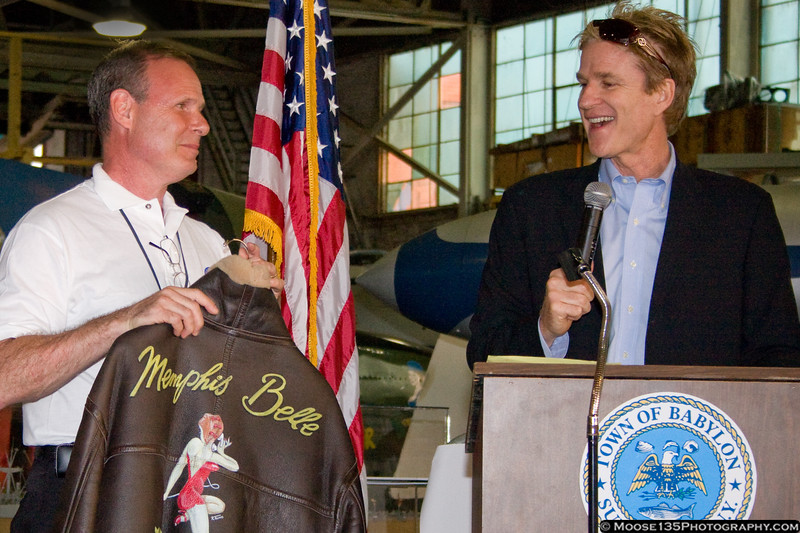 """Mr. Modine presented his """"Memphis Belle"""" flight jacket to the Airpower Museum."""