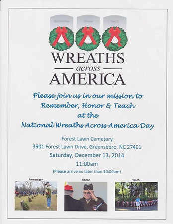 Wreaths Across America, Forest Lawn Cemetery, Greensboro, NC 2014-12-13