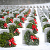 Wreaths placed at headstones in the Massachusetts Veterans' Memorial Cemetery in Winchendon as part of the Wreaths Across America program, Friday morning.<br /> SENTINEL & ENTERPRISE / BRETT CRAWFORD