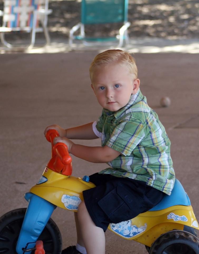 Birthday boy Wyatt on his trike 1