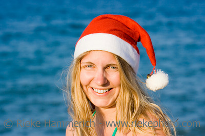 ms santa in front of the ocean - having fun on vacation - adobe RGB