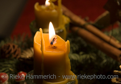 beeswax candles on an advent wreath - romantic lighting - adobe RGB