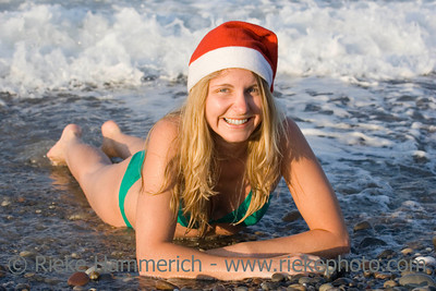 ms santa in the ocean - having fun on vacation - adobe RGB