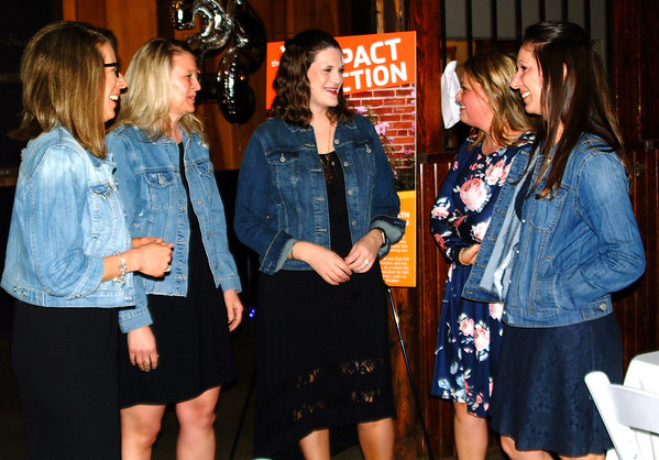 Debbie Blank | The Herald-Tribune<br /> Board member Judy Smith (from left) chats with Laura Vogelsang, Melissa Kramer, Betsy Schomber and Vicki Schuman before dinner. All live in Batesville.