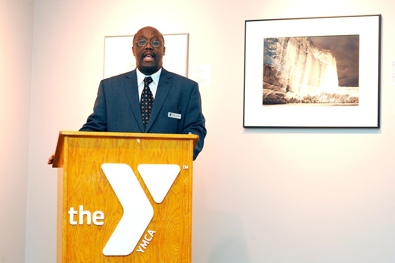 David Connell, regional executive director and organization advancement at YMCA of Central Massachusetts, speaks at the Fitchburg Art Museum, Thursday night.<br /> SENTINEL & ENTERPRISE / BRETT CRAWFORD