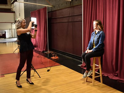 Photographer Heather Huff takes a portrait of Samantha Denby.  Photo by Julia Wiese, My Edmonds News.