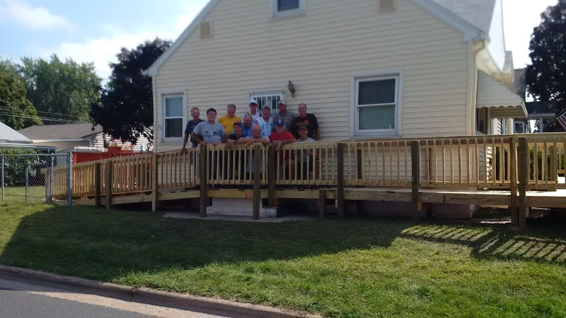 View of ramp (with crew minus our leader) along side of house