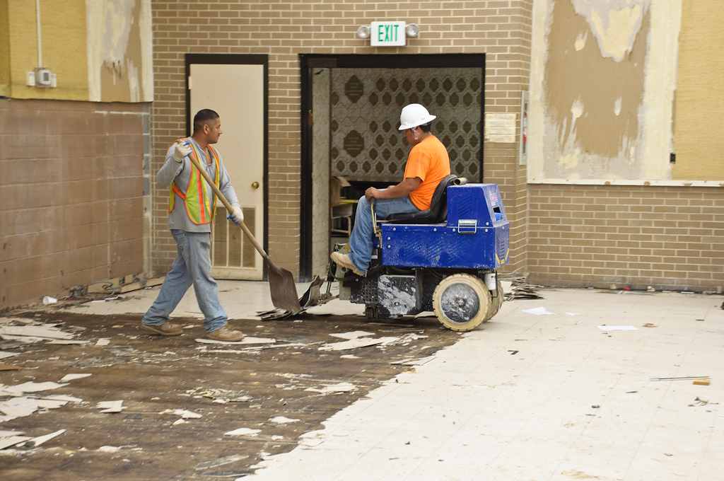 Ripping up the old tile floor