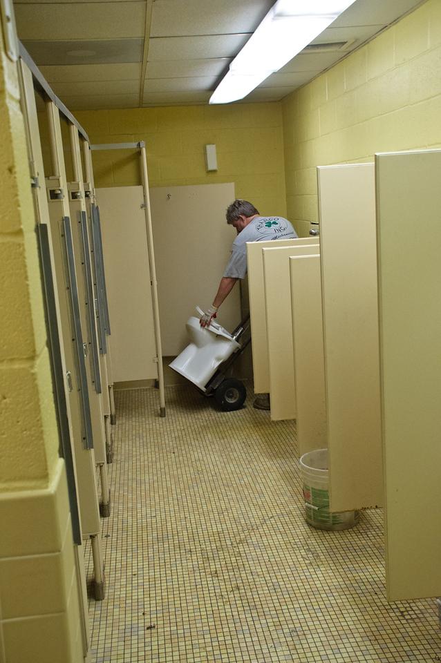 The old yellow bathroom