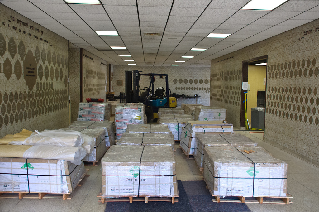 Floor tile ready to be installed in the Bais Medrash