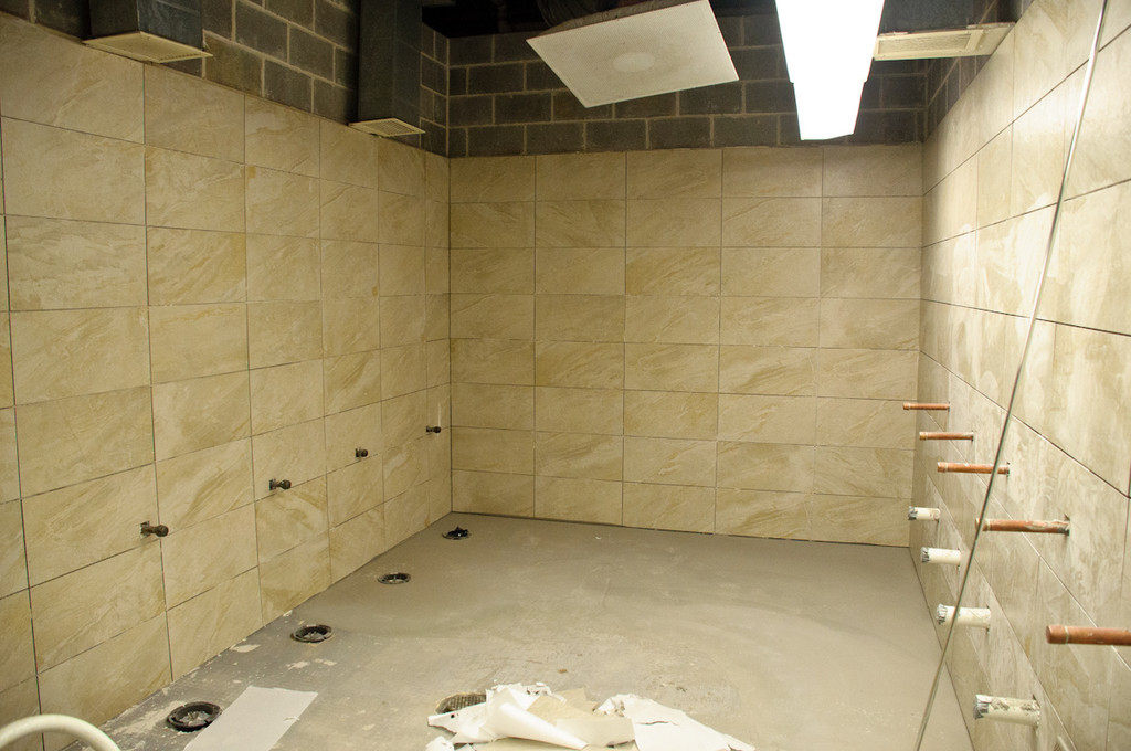 bathroom tiling coming along nicely