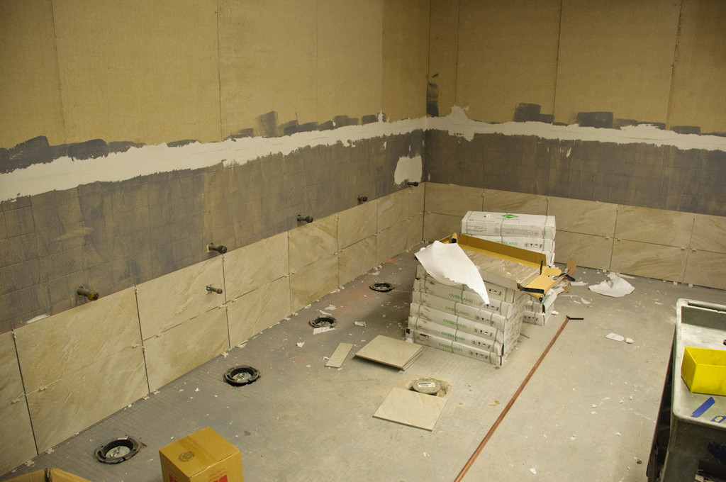 Bathroom tiles started going up