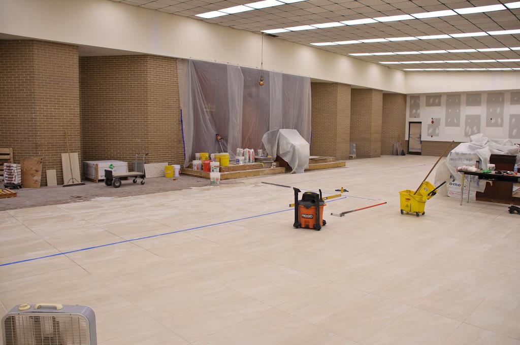 Almost finished tiling floor