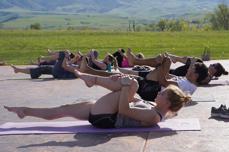 Matthew Gaston | The Sheridan Press<br>Kula Space's Yoga at The Brinton began slowly with a little bit of ground work to get everyone nice and loose before moving into more strenuous movements Tuesday, May 19, 2020.