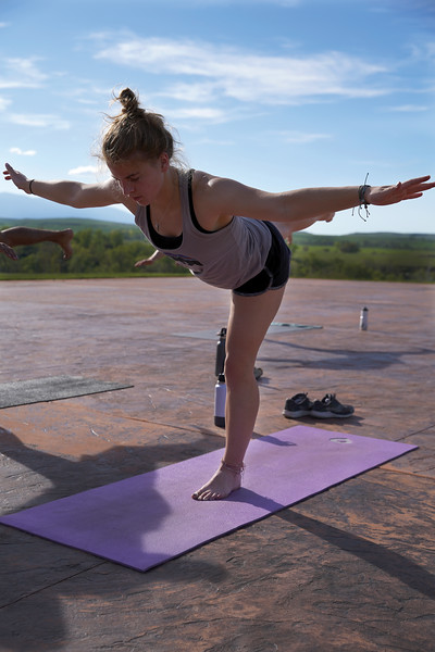 Matthew Gaston | The Sheridan Press<br>Talia Steel leans forward into the warrior 3 pose during Kula Space's Yoga at The Brinton Tuesday, May 19, 2020.