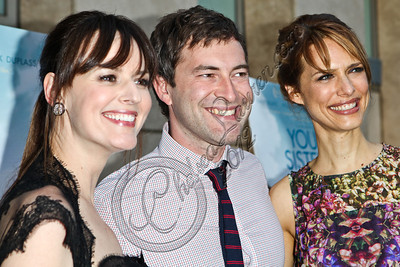 "HOLLYWOOD, CA - JUNE 11:  (L-R) Actress Rosemarie DeWitt, actor Mark Duplass and director Lynn Shelton arrive at the Los Angeles premiere of ""Your Sister's Sister"" at ArcLight Cinemas on June 11, 2012 in Hollywood, California.  (Photo by Chelsea Lauren/FilmMagic)"
