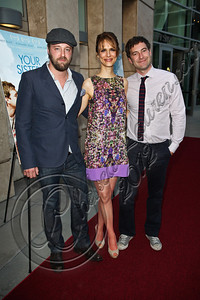 "HOLLYWOOD, CA - JUNE 11:  (L-R) Actor Joshua Leonard, director Lynn Shelton and actor Mark Duplass arrive at the Los Angeles premiere of ""Your Sister's Sister"" at ArcLight Cinemas on June 11, 2012 in Hollywood, California.  (Photo by Chelsea Lauren/FilmMagic)"