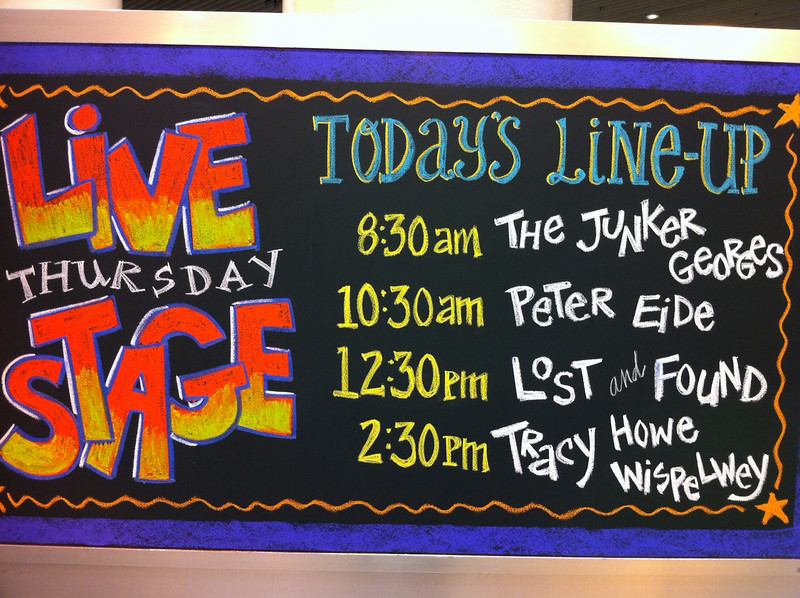 Signs announced the musical lineups each day.