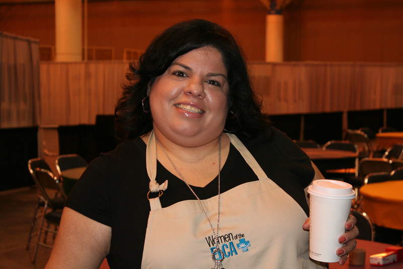 Gaby, churchwide staff, enjoying a cup of joe at our Cafe.