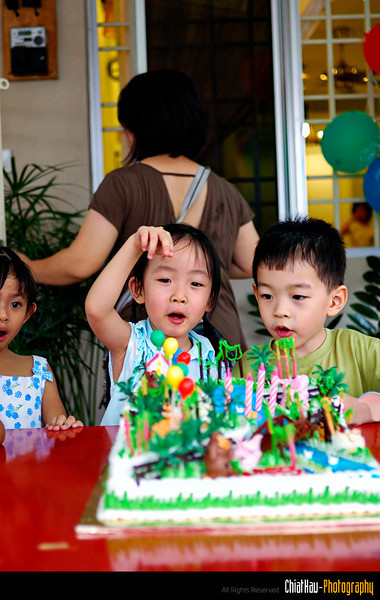 Zhi and Melody talking about the animals in the Zoo (cake...)