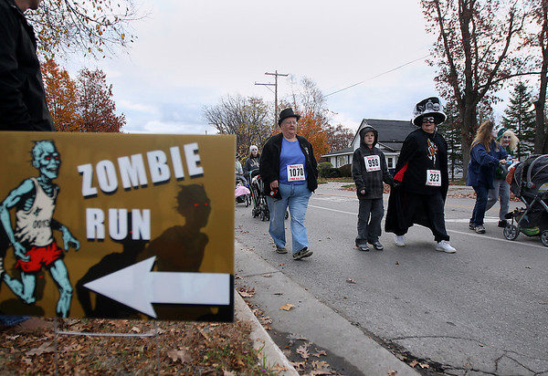 Record-Eagle/Keith King<br /> Saturday, October 27, 2012 during the fourth annual Zombie Run 5k in Traverse City with proceeds from the run/walk going toward TART Trails.