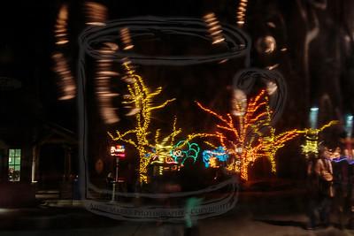 Zoo lights through a bendy soft plastic window