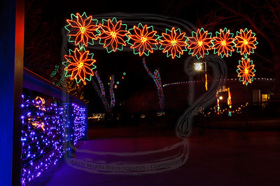 """Once in the gate you pass under this Poinsettia arch. The """"ghosting"""" you see on the path are the people who came and went during this exposure."""