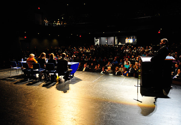 (right to left) Senators Bill Cunningham, Christine Radogro, Fran Hurley and Renee Kosel answer questions about Senate Bill 16 to a packed auditorium at Orland Park High School, Thursday, October 23rd, 2014, in Orland Park. | Gary Middendorf/for Sun-Times Media