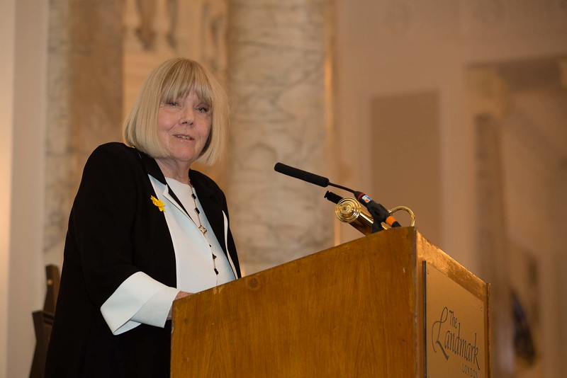 Dame Diana Rigg speaks at the Marie Curie <br /> fundraising lunch