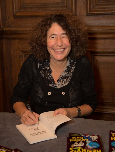 Francesca Simon signs copies of her latest Horrid Henry book.