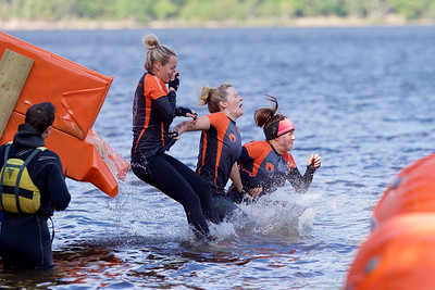 Competitors slide into the cold waters of  Loch Ness on the Beast Race.  Picture: Paul Campbell  Prime Four Beast Race, Loch Ness 2015.  Picture: Paul Campbell.