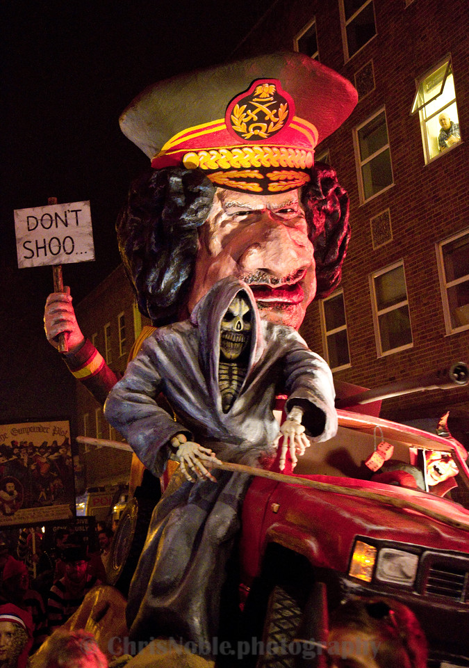Lewes Bonfire Night Gaddafi effigy and the Grim Reaper, UK