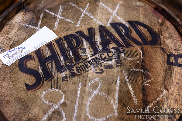A Shipyard brewery barrel.