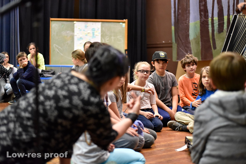 "Oregon Humanities Magazine - Jana and Mic Crenshaw work with 3rd graders at Sunnyside Environmental School rehearsing a play about the Portland history and themes of race equality Wednesday 5/17/17. © 2017 Fred Joe /  <a href=""http://www.fredjoephoto.com"">http://www.fredjoephoto.com</a>"